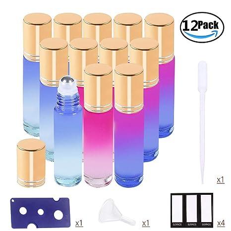 Botellas de rodillos de aceites esenciales Botellas de vidrio de Multicolor Bolas de rodillos de acero