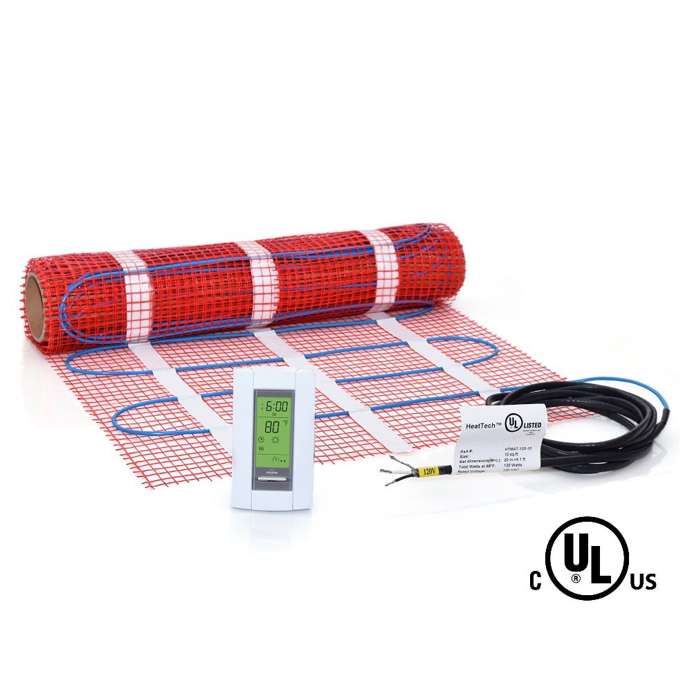 10 sqft Mat Kit, 120V Electric Radiant Floor Heat Heating System w/ Aube Programmable Floor Sensing Thermostat by HeatTech
