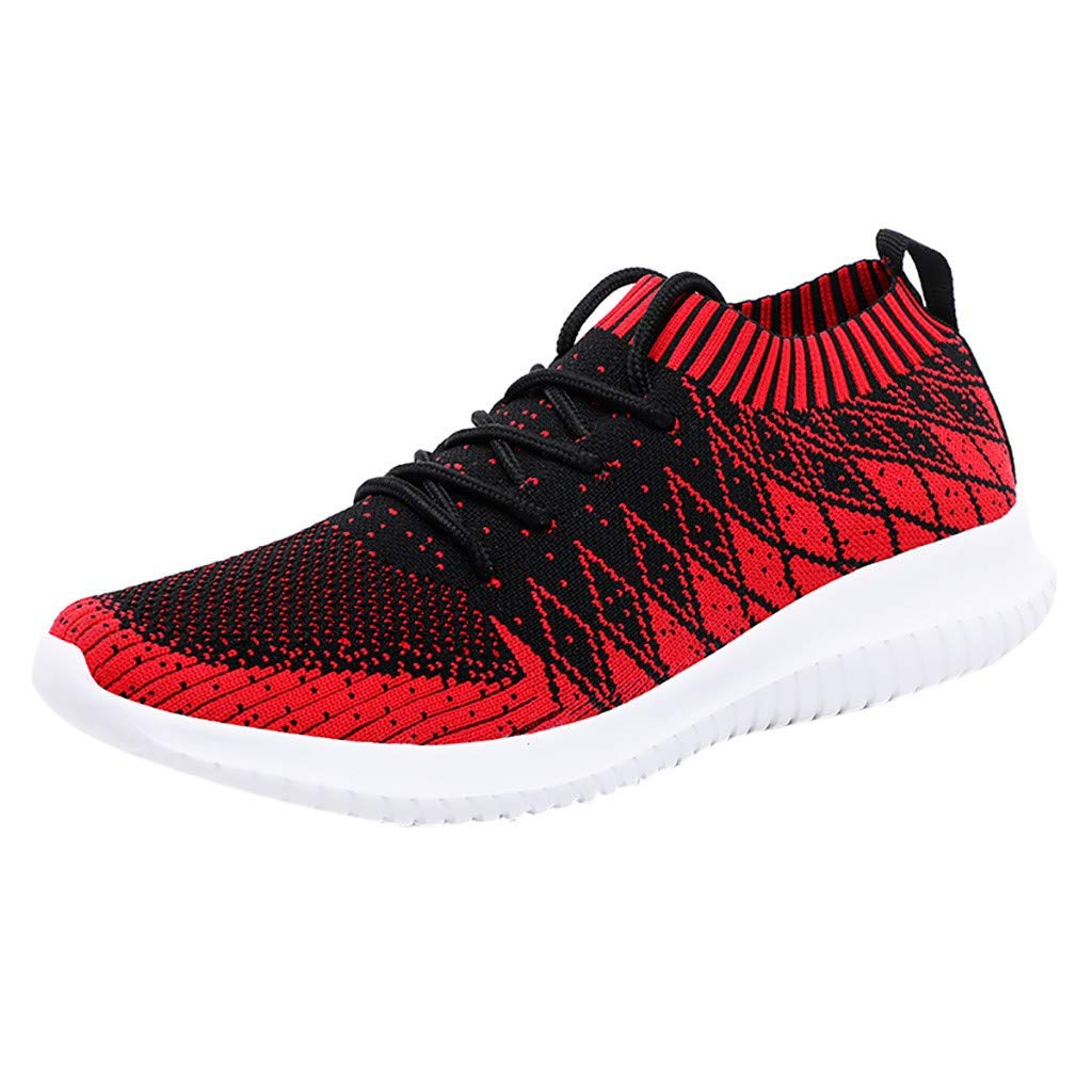 refulgence Men's Running Shoes Ultra Light Shoes Woven Sneakers Casual Outsdoor Shoes(Red,US=9.5