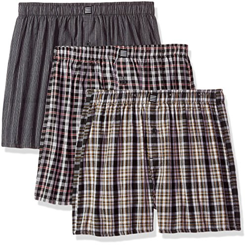Classic Cotton Boxer Oxford - Geoffrey Beene Men's 3 Pack Soft Finish Assorted Boxers, Oxford Grey, Medium