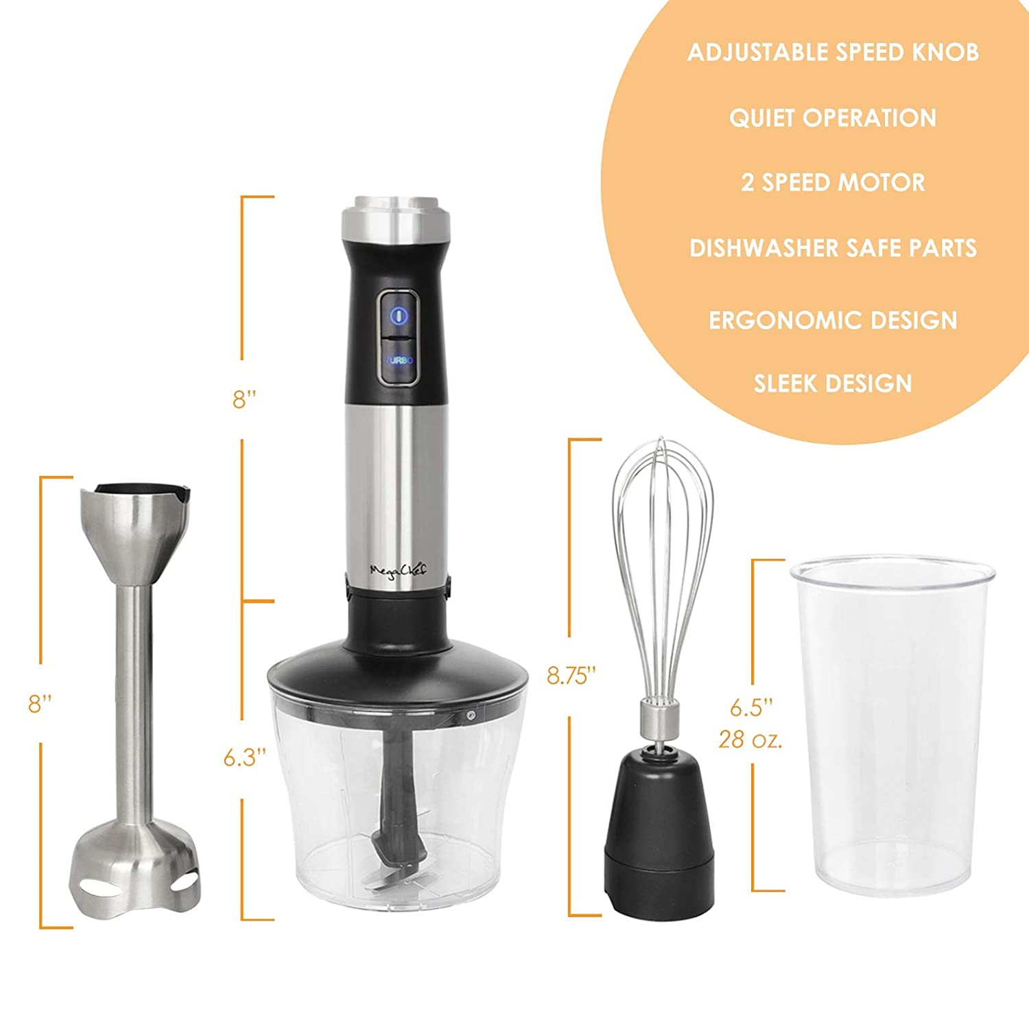Amazon.com: MegaChef MC-158C 4 in 1 Multipurpose Immersion Hand Blender with Speed Control and Accessories, 4in1 Silver: Kitchen & Dining