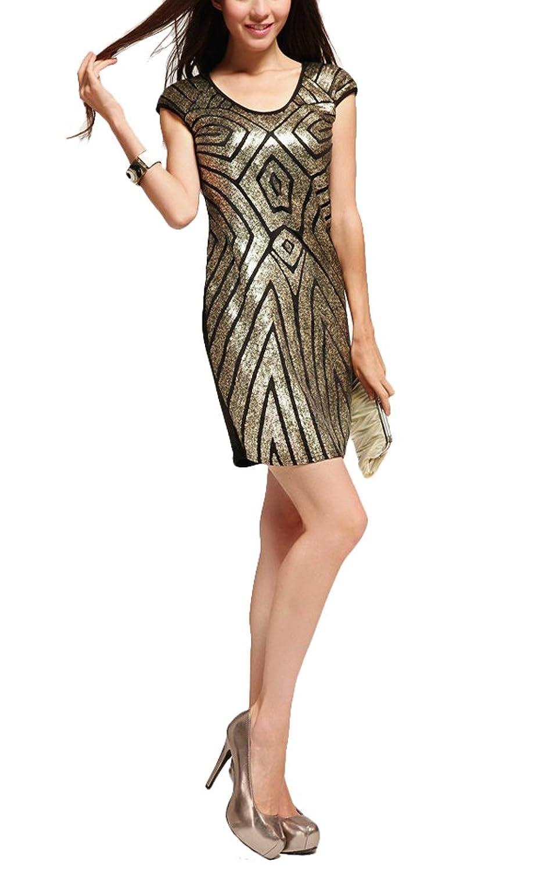 Brinny Nachtclub Clubwear Bling Sommerkleid Mit Pailletten Mantel Bodycon Abend Cocktail-Party- Kleid Damen Kleider(32-38)