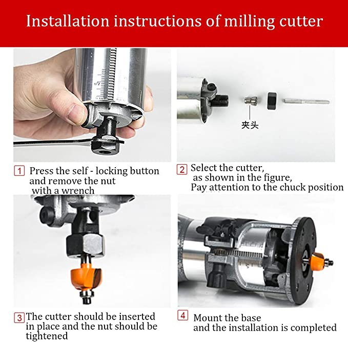 110V Trim Router Edge Woodworking Compact Router Wood Clean Cuts Power Tool Set 30000RPM 1//4 Collet SELLBINDING Woodworking Electric Router Base