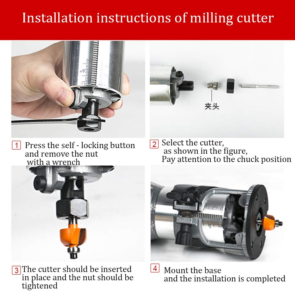 Compact Router Kit 220V 50Hz Woodworking Electric Trimming set Wood Clean Cuts Power Tool 30000RPM 600W (Router Kit) by FASTTOBUY (Image #5)