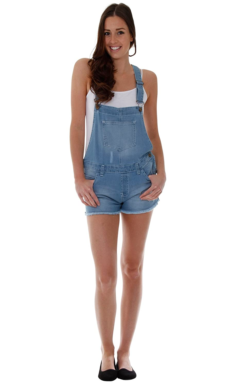 TALLA EU 42. G8 One Mujer Petos Cortos - Luz Azul Pantalones Cortos de Mezclilla Dungaree WOMSH13