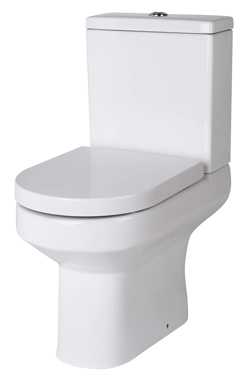 White Nuie NCH300-1PC Harmony Modern Coupled Bathroom Toilet with Dual Flush Cistern and Soft Close Seat
