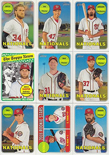 2018 Topps Checklist - Washington Nationals 2018 Topps Heritage Series Basic 19 Card Team Set with Bryce Harper and Max Scherzer Plus