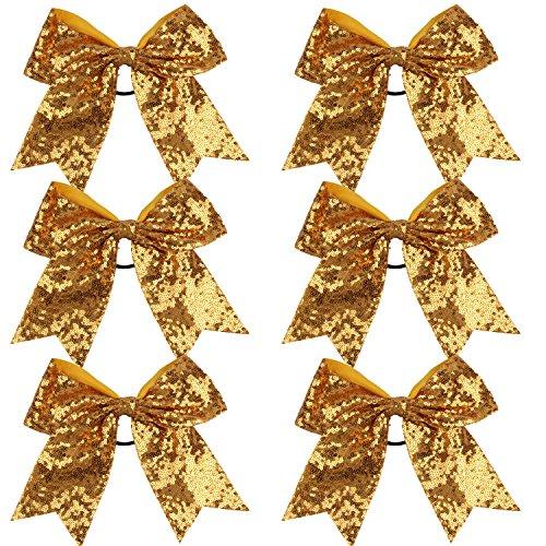 Metallic Sequin and Holographic 8 Inch Cheer Bow Cheerleader Cheerleading Jumbo Cheer Bow Hair Tie School Girl (Gold Sequin)