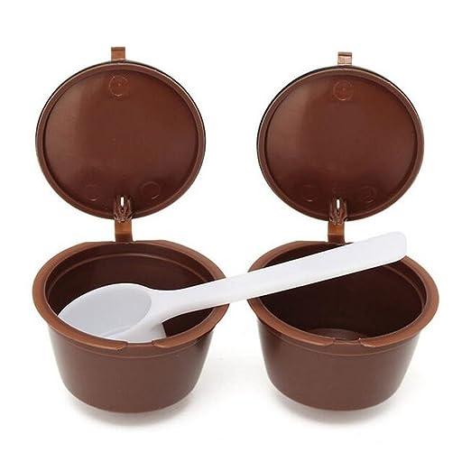 2pcs, rellenable, Cápsulas de Café tazas café filtro cestas + ...