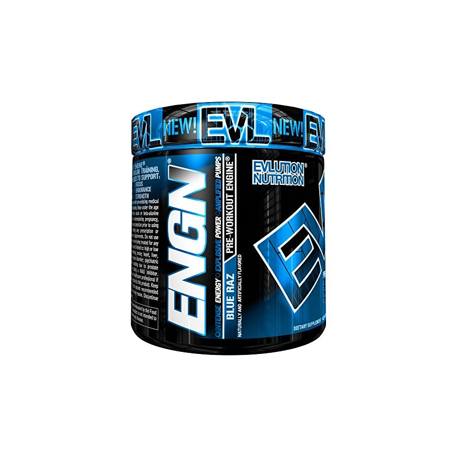 Evlution Nutrition ENGN Pre workout, 30 Servings, Intense Pre Workout Powder for Increased Energy, Power, and Focus (Blue Raz) Pikatropin Free