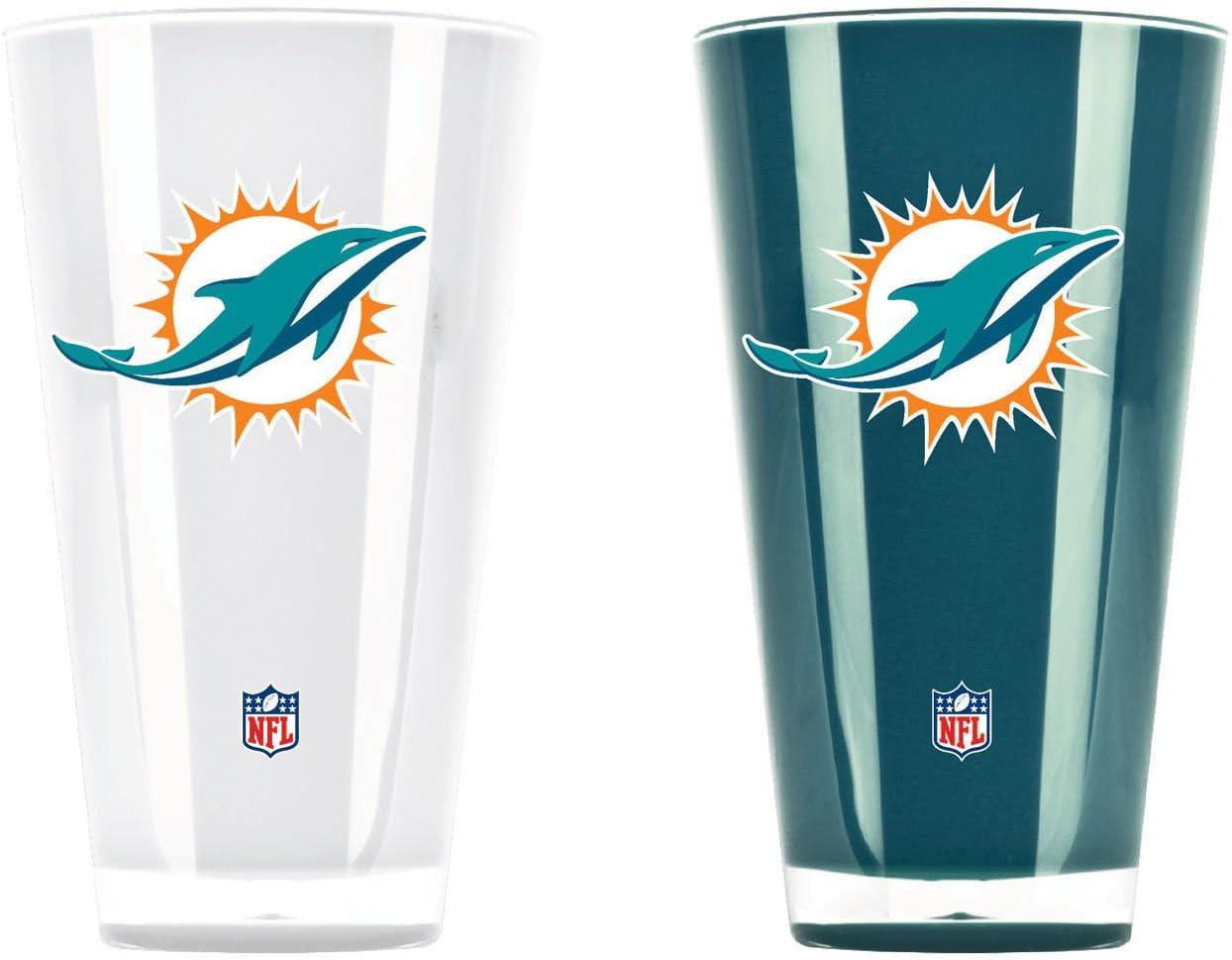 NFL Miami Dolphins 20oz Insulated Acrylic Tumbler Set of 2