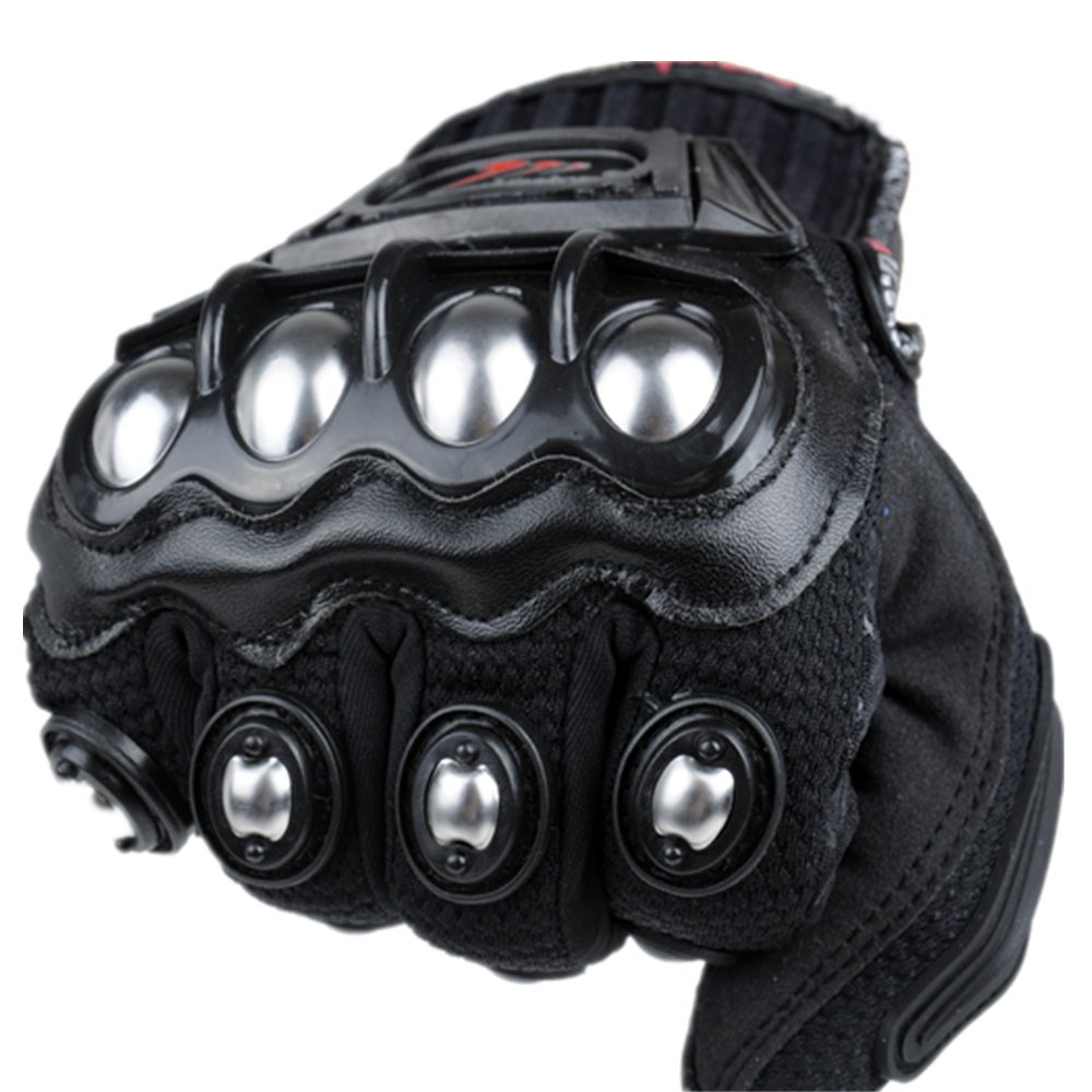 Motorcycle gloves metal - Amazon Com Ilm Alloy Steel Knuckle Motorcycle Motorbike Powersports Racing Tactical Paintball Gloves L Black Automotive