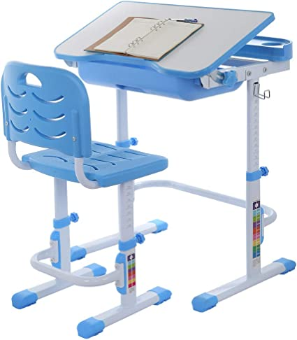 Height Adjustable Children Study Table with Tiltable Anti-Reflective Tabletop Blue Study Gifts for Boys and Girls Sturdy Anti-Reflective Tabletop Children Desk and Chair Set
