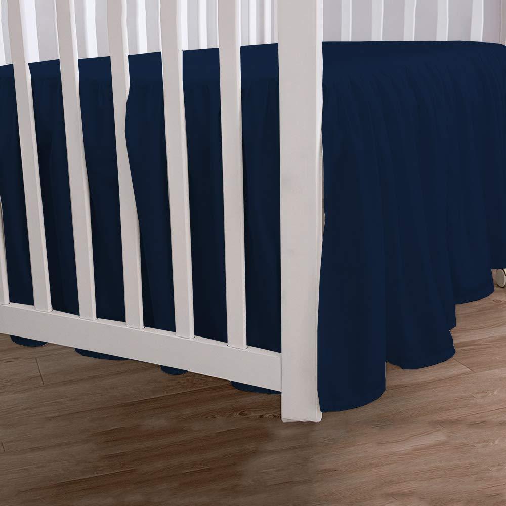 Ivory Crib Bed Skirt Split Corner,Dust Ruffle 100/% Cotton Nursery Crib Toddler Bedding Skirt for Baby Boys or Girls 14 Drop
