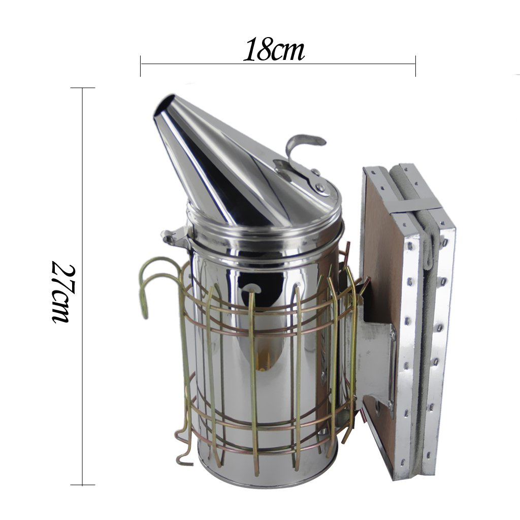 Baosity Bee Hive Smoker Stainless Steel W/Leather Heat Shield Beekeeping Equipment by Baosity (Image #6)