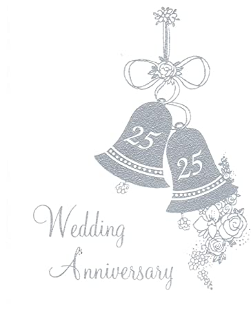 25th Wedding Anniversary Invitations, Silver Bells Silver Print 25 Count