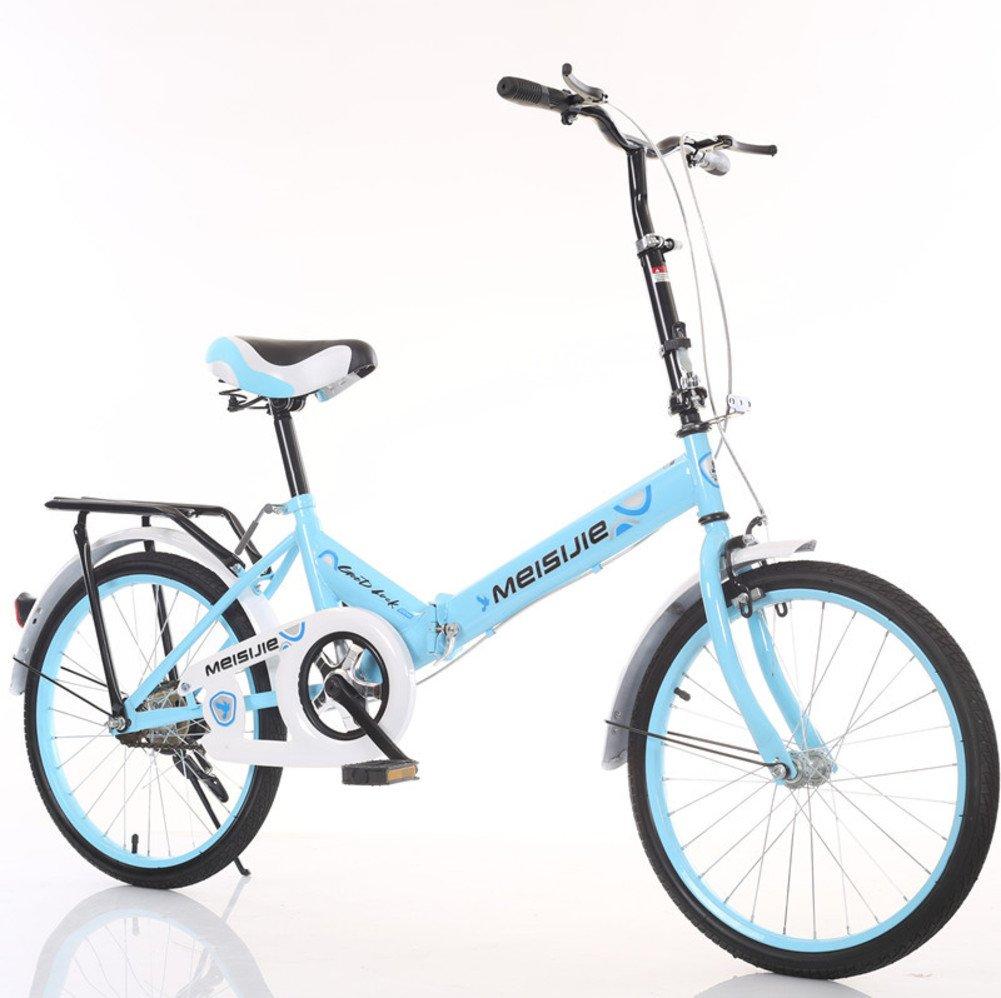 大人 折りたたみ自転車, 学生折りたたみ自転車 光ポータブル 子供たち 男子 レディース 折りたたみ自転車 B07DFDVV6B 20inch|青 青 20inch