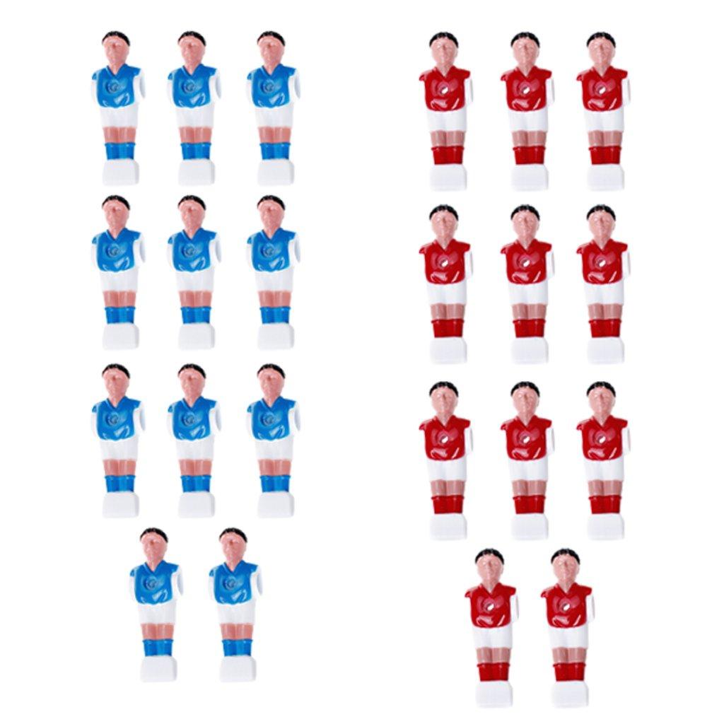 Gazechimp Lot de 22pcs Joueur de Baby-foot Foosball Pièce Remplacement pour Baby-foot - Rouge Et Bleu