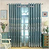 TIYANA Chenille Blackout Curtains For Living Room 96 inch long Customized Romantic European Design Room Darkening Blue Curtain for Bedroom, Metal Rings Top, 1 Piece, W75 x H96 inch