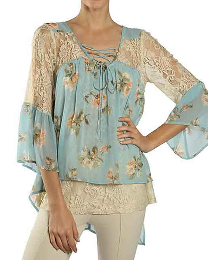 RYU RTA5026 Light Blue Floral Lace Hi Lo Top