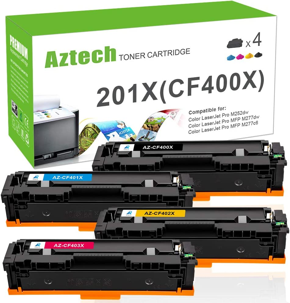 Aztech Compatible Toner Cartridge Replacement for HP 201X 201A Color Laserjet Pro MFP M277dw M252dw M252n M277n M277c6 CF400X CF400A CF401X CF402X CF403X (Black/Cyan/Yellow/Magenta, 4-Pack)