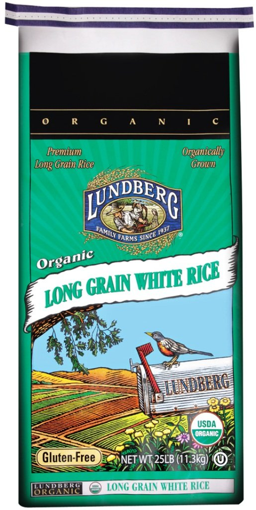 Lundberg Family Farms Organic White Long Grain Rice, 25 Pounds (Packaging May Vary)