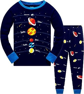 Conjunto de pijama para niños y niñas que brilla en la oscuridad, unicornio, sirena, ropa de dormir de manga larga, pijama de 2 piezas para ropa de ...