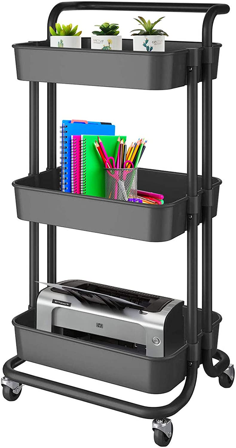 3-Tier Rolling Utility Storage Cart,Heavy Duty Mobile Organizer Carts with Handle / Wheels,Multifunctional Large Storage Trolley,Storage Shelves with Mesh Basket for Kitchen Bathroom,Bedroom,Office
