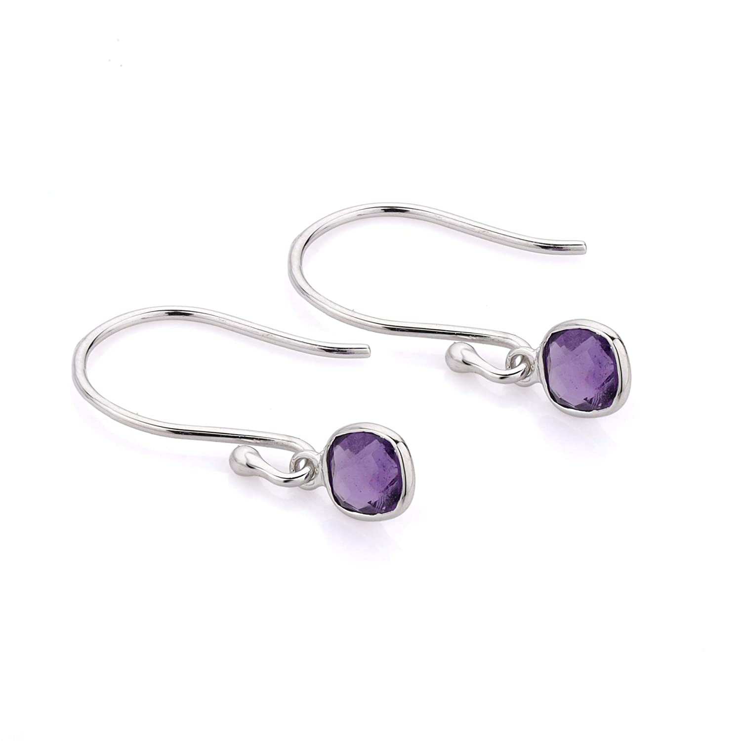 14K White Gold 0.99Cts Cushion Both Side Checker Cut Natural Amethyst Dangling Earring Halloween Gift