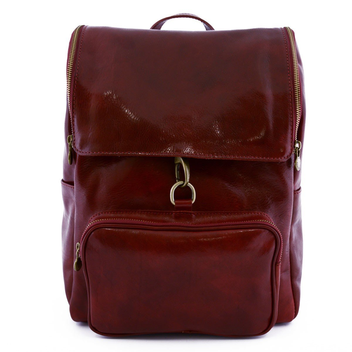 Made In Italy Genuine Leather Backpack With Zip Closure And Carabiner Color Red - Backpack   B01AM2Q9A0