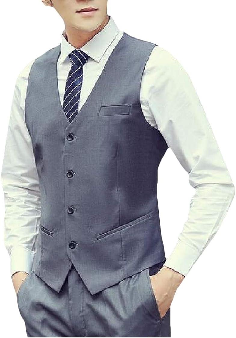 Etecredpow Men Work Moderator Button-Down Solid Color Blazer Slim Fit Vest