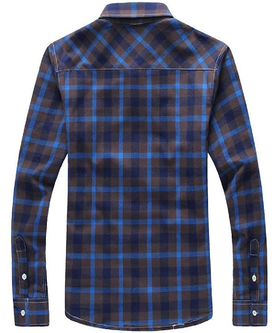 WSPLYSPJY Mens Warm Thicken Button Down Long Sleeve Plaid Flannel Shirt