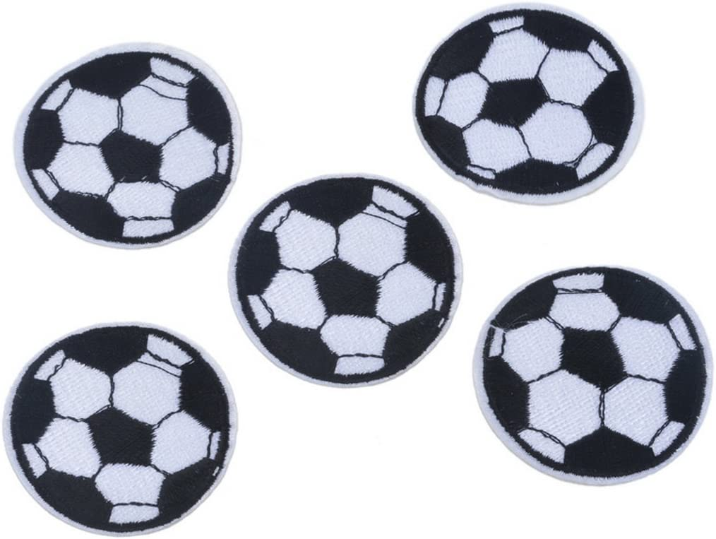 color blanco y negro QILEGN 5 parches bordados con dise/ño de f/útbol para coser planchar sobre apliques