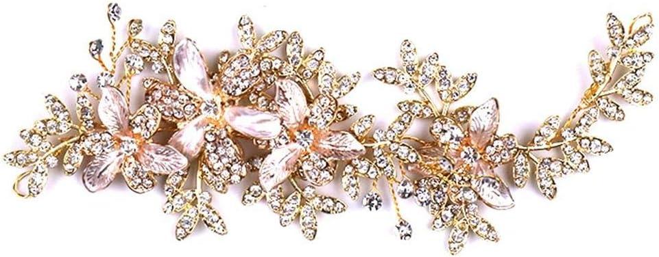 ALICESHOP ブライダル リーフ アクセサリー ヘッドウェア ラインストーン 花 ヘアバンド ウェディング ドレス アクセサリー 手作り ヘアアクセサリー (Color : Gold)