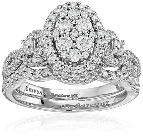 Keepsake Signature 14k White Gold Diamond Oval Cluster Ring with Matching Wedding Band Set (1cttw, H-I Color, I1 Clarity)