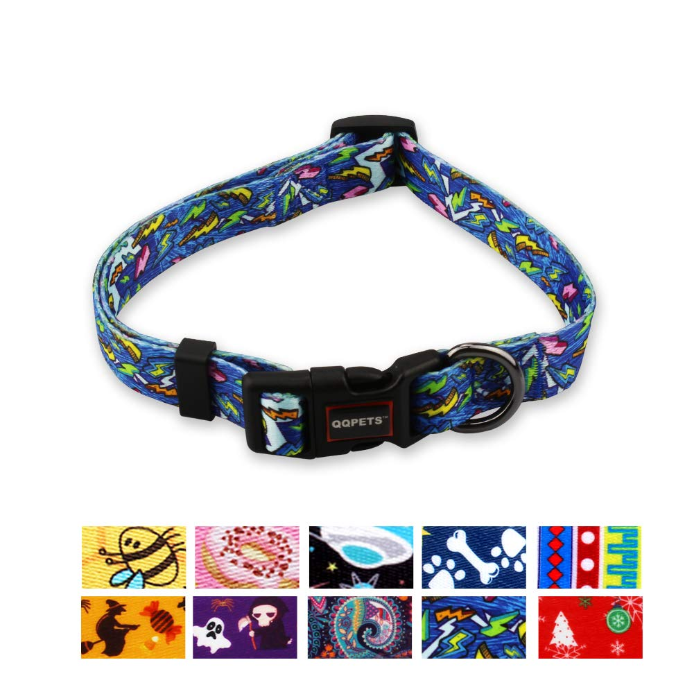 QQPETS Dog Collar Soft Comfortable Adjustable Collars for Small Medium Large Dogs Outdoor Training Walking Running