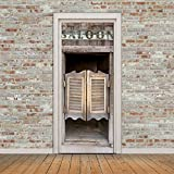 CaseFan 3D Saloon Door Wall Mural Wallpaper Stickers Vinyl Removable Decals for Home Retro Decoration 30.3x78.7''
