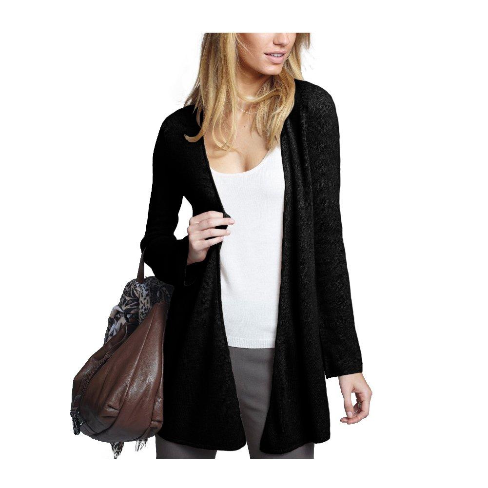 Parisbonbon Women's 100% Cashmere V-Neck Cardigan Color Black Size L