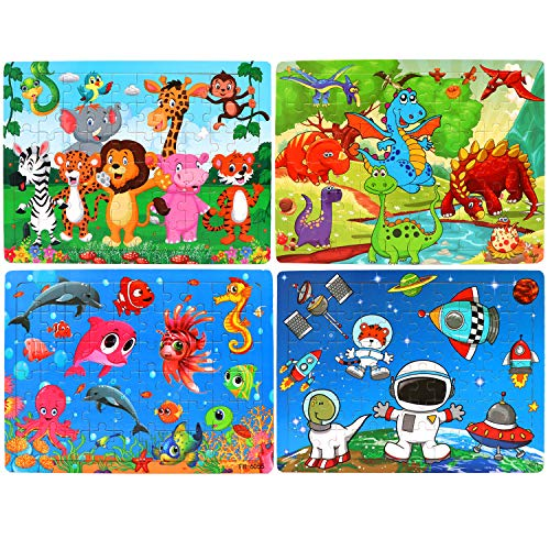 4 Pack Wooden Jigsaw Puzzles for Kids Age 3-8 Years Old 60 Pieces Colorful Jigsaw Puzzles Set Toys for Kids Children Preschool Learning Educational Puzzles Toys Gift for Boys and Girls ()