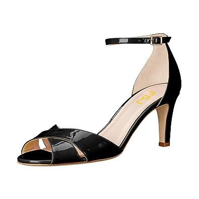 bf4a642cab69 FSJ Women Comfy Peep Toe Sandals Thick Low Heels Pumps Cross Strap Two  Piece Shoes Size