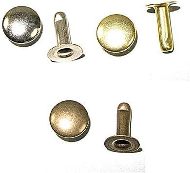 Doble CASQUILLO Remaches Cuero 6mm X 25 tapa Bronce Plateado artesanía uso