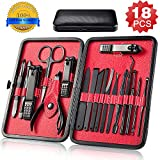 Manicure Pedicure Set Nail Clippers 18pcs Professional Nail Scissors Grooming Kit Portable Travel Luxury Nail Care Cutter Tools Nail Kits for Men Women with Black Leather Travel Case