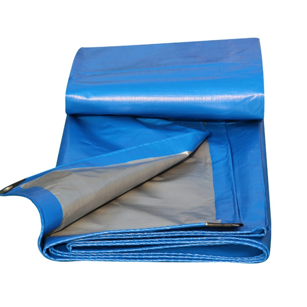 Tarpaulin Tarpaulin Waterproof Sunscreen Tent Sheet Roof Windproof Compact Truck Thicken Polyester, Blue, 200G/M², 11 Sizes Available (Color : Blue, Size : 2X2M)