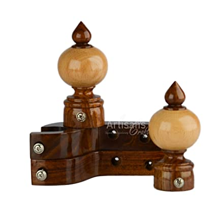 Artisans Craft 2 Wooden Finials Caps with 2 Wall Support (Brown and Beige)