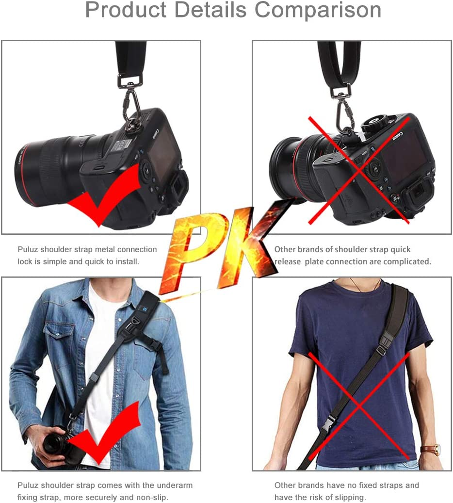 HONGYU Camera Accessories Quick Release Anti-Slip Soft Pad Nylon Breathable Curved Camera Strap with Metal Hook for SLR//DSLR Cameras