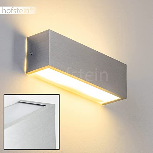 Modern Up Down Wall Lights For Indoor Brushed Aluminum Metal Warm White Bedroom