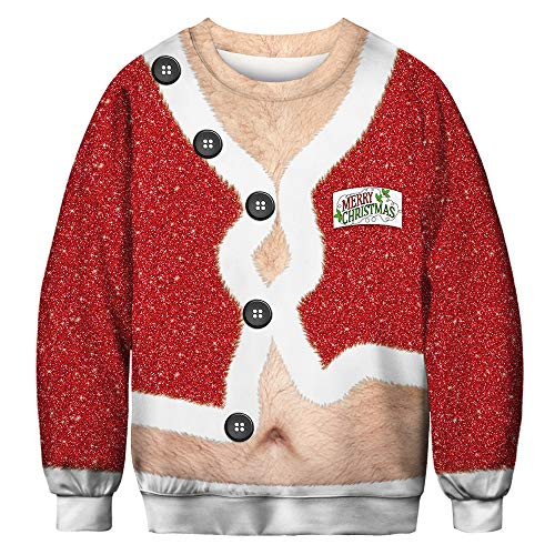URVIP Unisex Halloween Christmas Themes 3D-Print Athletic Sweaters Fashion Hoodies Sweatshirts Christmas Buttons BFT-026 XL