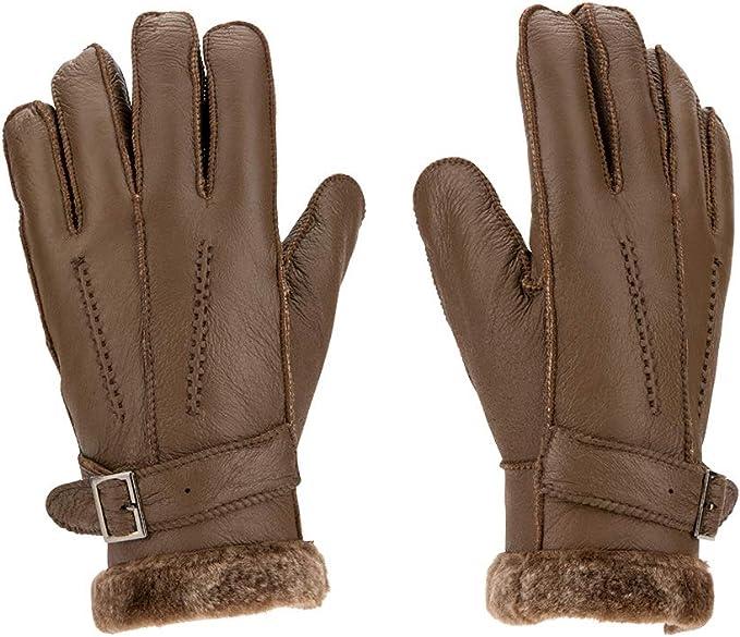 Women/'s gloves Fur Trimmed leather gloves Size xl Brown new Warm Winter Gloves