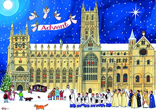 Alison Gardiner Famous Illustrator Unique Traditional Advent Calendar  - Designed in England - Festive Scene at a Cathedral by Alison Gardiner
