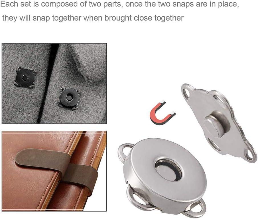 Craftdady 32 Sets Magnetic Snap Clasp Closure Mixed Colors Metal Button Fastener for Purse Clothes Handbag Scrapbook